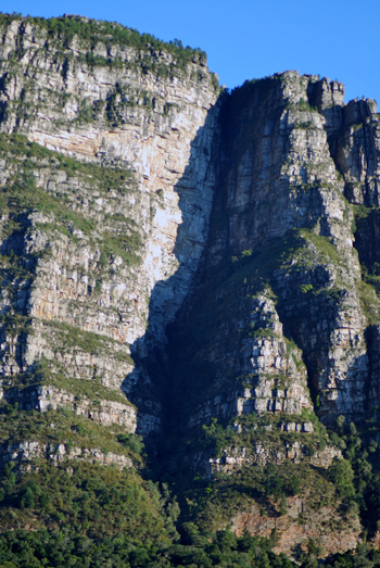 Pareidolia shadow face Table Mountain, South Africa, 2020.