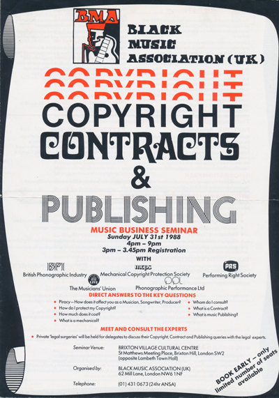 Page 1 front cover details seminar is about music business copyright, contrcat and publishing advice.