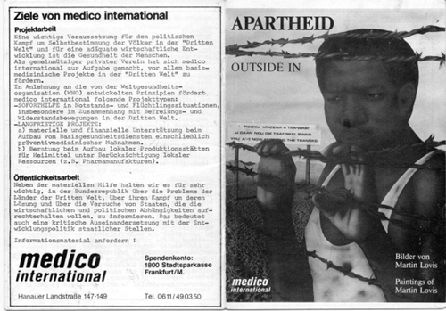 Booklet Apartheid Outside In my Martin  Lovis published by Medico International.