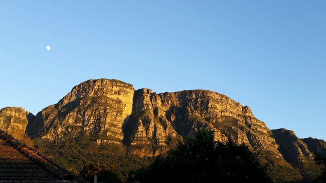 Six buttresses of table Mountain bathed in early morning warm yellow sunlight, deep shadows between the buttresses and bright clear blue sky above and a three quarter moon sinking down below the mountain horizon left of scene.