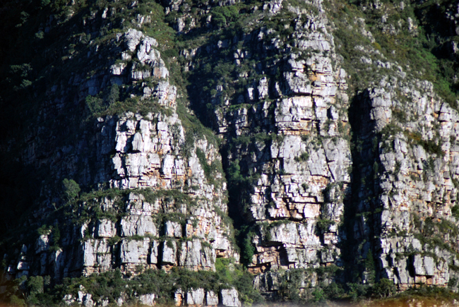 Very close view of the sandstone sedimentary layers that form Table Mountain.