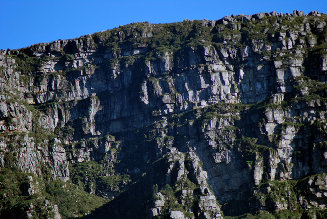 Very close view of the sandstone sedimentary layers showing the centuries old upheaval of the formation of Table Mountain.